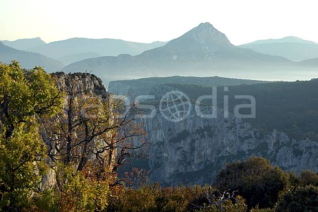 aa042160LE : Gorges du Verdon, Var.  Europe, CEE, falaise, C02, C01, brouillard arbre, moyenne montagne, paysage (France).