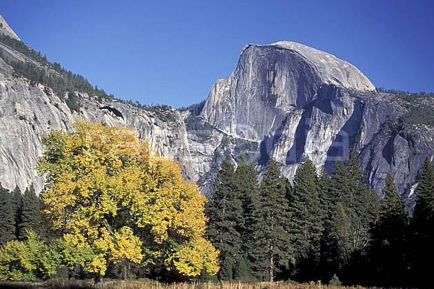 aa0671-17LE : Yosemite Valley, Half Dome.  Amérique du nord, ciel bleu, falaise, C02, C01 arbre, forêt, moyenne montagne, paysage (Usa).