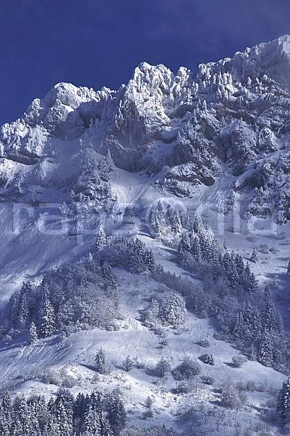 aa0695-33LE : Les Lanfonnets, Haute-Savoie, Alpes.  Europe, CEE, ciel bleu, sapin, C02, C01, poudreuse arbre, moyenne montagne, paysage, Annecy 2018 (France).