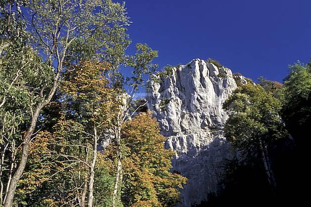aa1240-35LE : Falaise de Poligny, Jura.  Europe, CEE, ciel bleu, falaise, C02, C01 arbre, moyenne montagne, paysage (France).