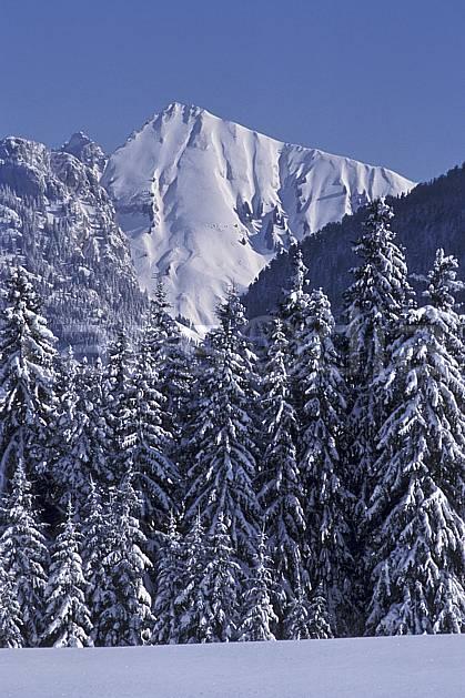 aa2131-11LE : Jallouvre face nord/ouest depuis le plateau des Glières, Haute-Savoie, Alpes.  Europe, CEE, ciel bleu, sapin, C02, C01 arbre, forêt, moyenne montagne, paysage, Annecy 2018 (France).