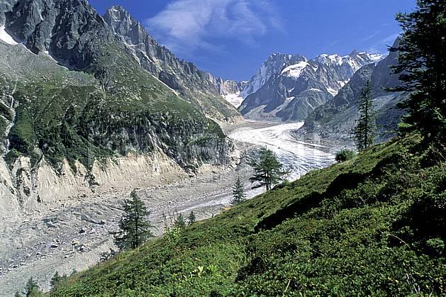 aa2543-18LE : Mer de Glace, Massif du Mont-Blanc, Chamonix, Haute-Savoie, Alpes.  Europe, CEE, ciel bleu, herbe, glacier, vallée, C02, C01 moyenne montagne, paysage, Annecy 2018 (France).