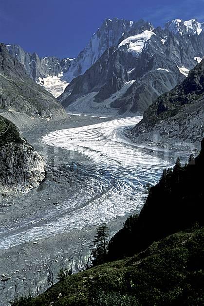 aa2543-24LE : Mer de Glace, Massif du Mont-Blanc, Chamonix, Haute-Savoie, Alpes.  Europe, CEE, ciel bleu, glacier, vallée, C02, C01 moyenne montagne, paysage, Annecy 2018 (France).