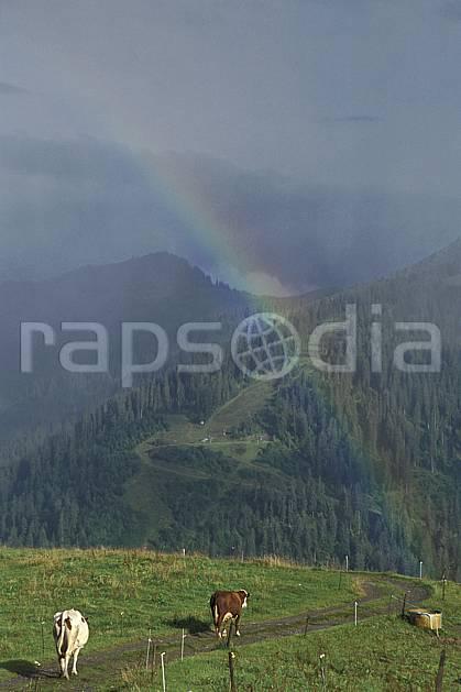 ac2896-01LE : Les Aravis, Haute-Savoie, Alpes.  Europe, CEE, arc en ciel, ciel nuageux, orage, herbe, vache, route, C02, C01 moyenne montagne, paysage, Annecy 2018 (France).