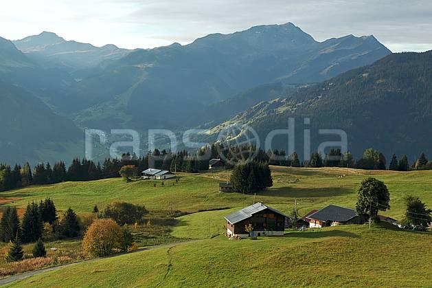 ae042216LE : Beaufortain, Savoie, Alpes.  Europe, CEE, village, cabane, C02, C01 arbre, environnement, forêt, habitation, moyenne montagne, paysage (France).