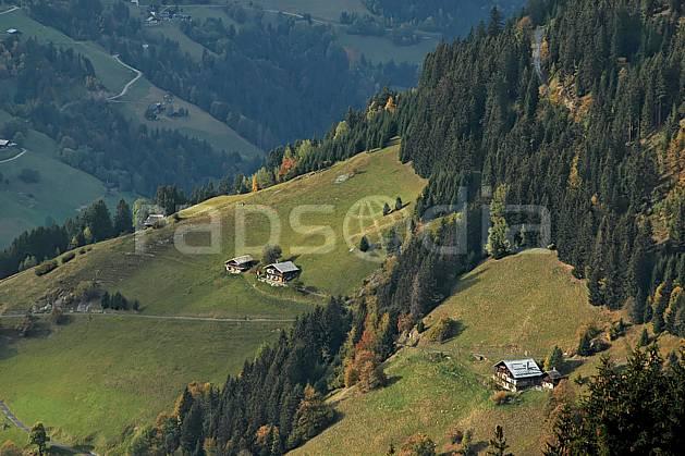 ae042658LE : Beaufortain, Savoie, Alpes.  Europe, CEE, village, cabane, C02, C01 arbre, environnement, forêt, habitation, moyenne montagne, paysage (France).