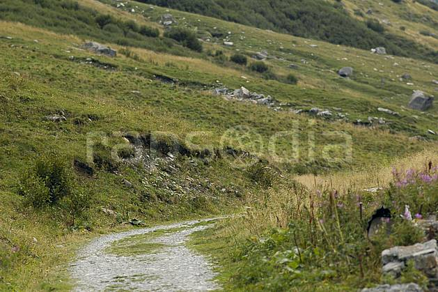 ae055611LE : Piste de montagne, Beaufortain, Alpes.  Europe, EEC, footpath, mountain pasture, road environment, middle mountain, landscape, transportation (France).