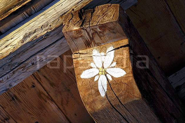 ae060608LE : Peinture murale, La Rosière, Savoie, Alpes.  Europe, CEE, cabane, fleur, C02, C01 environnement, habitation, moyenne montagne, paysage (France).
