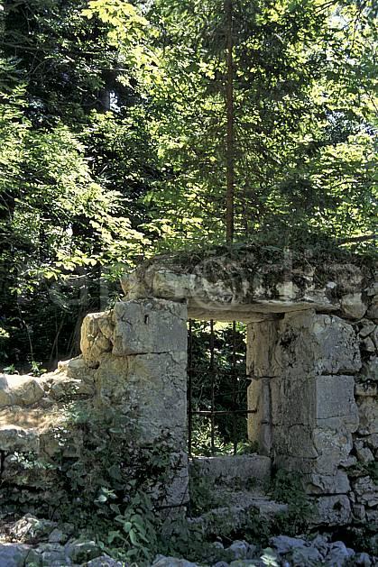 ae1017-09LE : Ruine en forêt, Alpes.  Europe, CEE, porte, ruine, C02, C01 environnement, forêt, habitation, moyenne montagne (France).