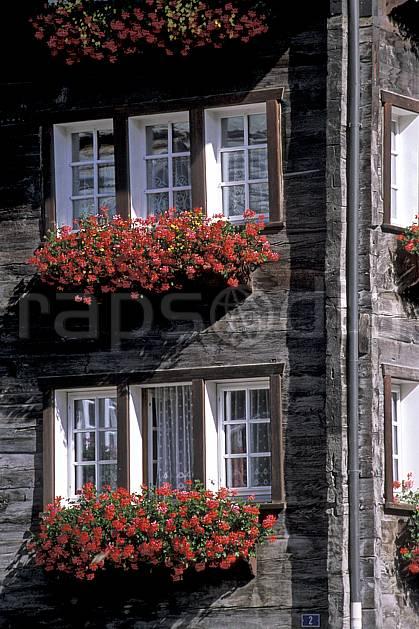ae2534-16LE : Zermatt, Alpes.  Europe, cabane, fleur, fleur rouge, fenêtre, C02, C01 environnement, flore, gros plan, habitation, moyenne montagne, patrimoine (Suisse).
