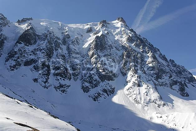 ba061175LE : Aiguille du Midi depuis le Plan de l'Aiguille, Face Nord, Massif du Mont Blanc, Haute-Savoie, Alpes.  Europe, CEE, C02, C01 haute montagne, paysage, Annecy 2018 (France).