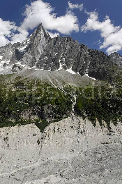 ba062925LE : Aiguille des Drus et moraine de la Mer de Glace, Haute-Savoie, Alpes.  Europe, CEE, glacier, C02, C01 haute montagne, paysage, Annecy 2018 (France).