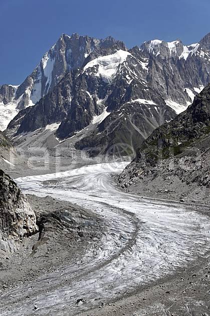 ba062930LE : Mer de Glace et Grandes Jorasses, Haute-Savoie, Alpes.  Europe, CEE, glacier, C02, C01 haute montagne, paysage, Annecy 2018 (France).