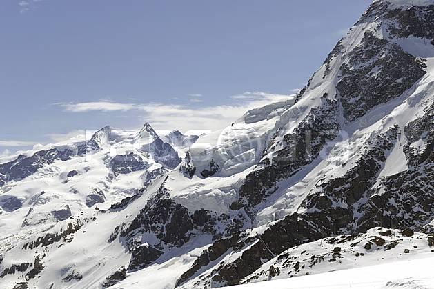 ba070369LE : Vue sur le massif du Mont Rose et le Breithorn depuis les pistes de Zermatt, Alpes.  Europe, glacier, C02 haute montagne, paysage (Suisse).