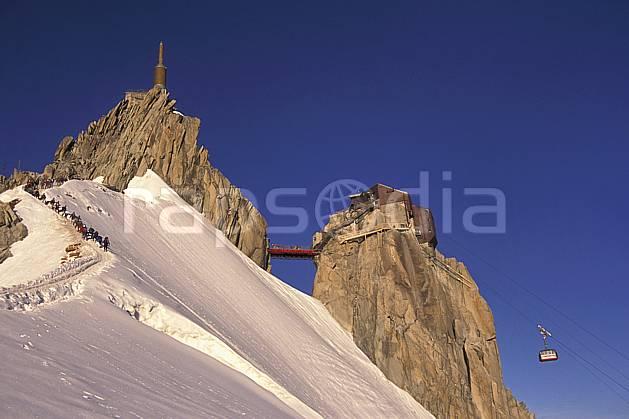 ba0811-14LE : Aiguille du Midi , Massif du Mont Blanc, Alpes. alpinisme Europe, CEE, sport, loisir, action, sport extrême, sport de montagne, ciel bleu, falaise, pont, télécabine, C02, C01 environnement, groupe, haute montagne, paysage (France).