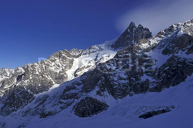 ba0920-12LE : La Meije, Oisans, Alpes.  Europe, CEE, ciel bleu, glacier, C02, C01 haute montagne, paysage (France).