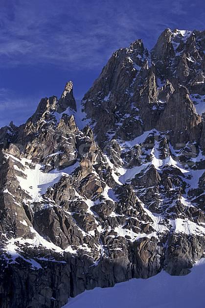 ba0954-24LE : Aiguille du Chardonnet, Massif du Mont Blanc, Haute-Savoie, Alpes.  Europe, CEE, ciel bleu, falaise, C02, C01 haute montagne, paysage, Annecy 2018 (France).