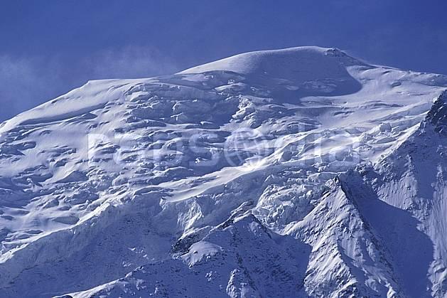ba0963-06LE : Le Mont Blanc, Haute-Savoie, Alpes.  Europe, CEE, ciel bleu, glacier, crevasse, sérac, sommet, C02, C01 haute montagne, paysage, Annecy 2018 (France).