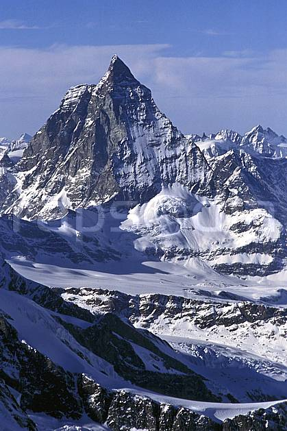 ba1113-13LE : Le Cervin, Alpes.  Europe, ciel voilé, falaise, C02, C01 haute montagne, paysage (Suisse).