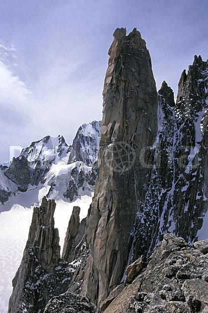ba2284-31LE : Grand Capucin, Massif du Mont Blanc, Haute-Savoie, Alpes.  Europe, CEE, ciel voilé, pic, C02, C01 haute montagne, paysage, Annecy 2018 (France).