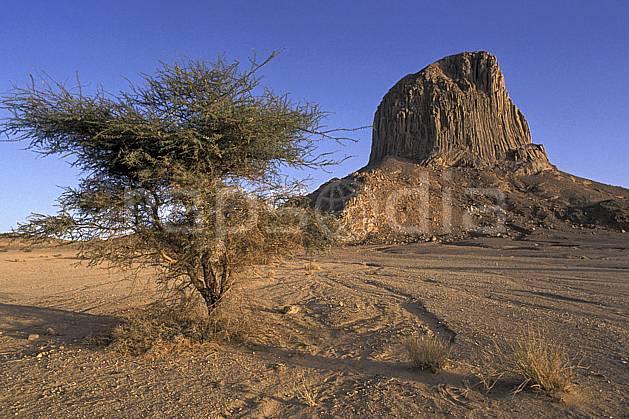 ea0351-37LE : Sahara, Massif du Hoggar, l'Iharem.  Afrique, Afrique du nord, ciel bleu, falaise, C02, C01 arbre, désert, paysage, voyage aventure (Algérie).