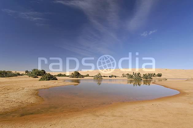 ea063651LE : Désert du Sud Tunisien, au sud de Douz, Oasis, lac au milieu des dunes.  Afrique, Afrique du nord, C02, C01 arbre, désert, lac, paysage, voyage aventure (Tunisie).
