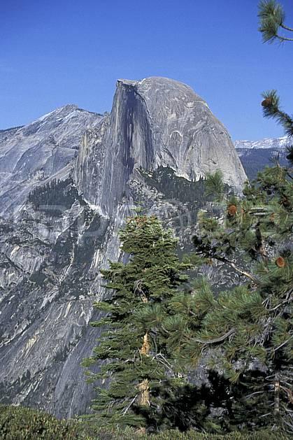 ea0667-36LE : Yosemite National Park, Half Dome depuis Glacier Point, California.  Amérique du nord, ciel bleu, falaise, parc américain, sapin, C02, C01 paysage, voyage aventure (Usa).