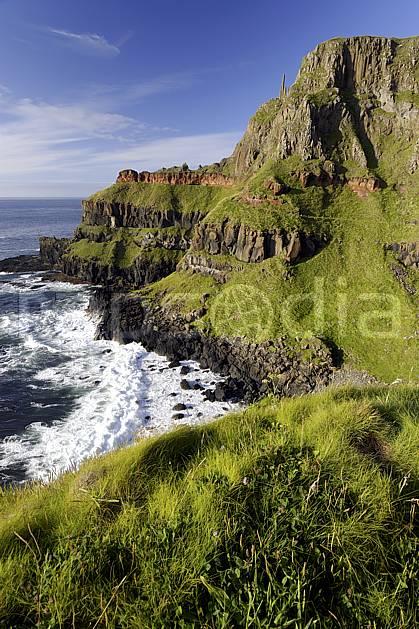 ea071961LE : Giant's Causeway (Chaussée des Géants), Ulster (Irlande du Nord).  Europe, CEE, littoral, orgues, de, basalte, herbe, C02 mer, paysage, voyage aventure (Irlande Royaume-Uni).