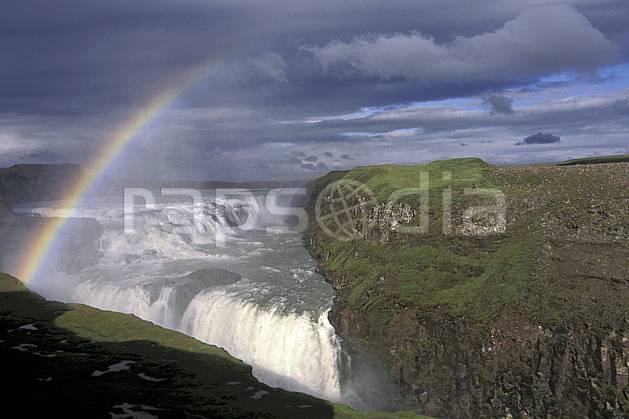 ea1038-26LE : Chutes de Skogafoss.  ONU, OTAN, arc en ciel, ciel nuageux, gros débit, C02, C01 cascade, paysage, voyage aventure (Islande).