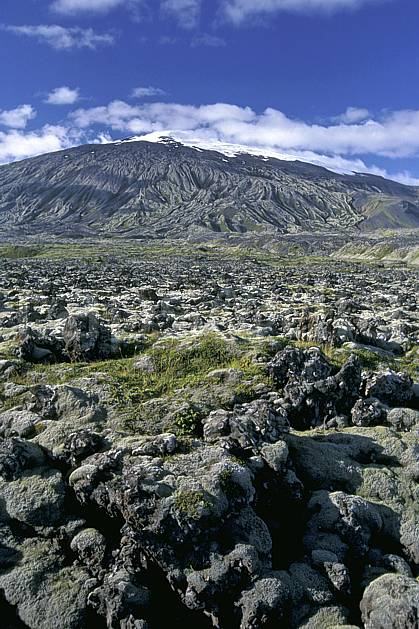 ea1042-34LE : Snaefellsjokull.  ONU, OTAN, ciel bleu, C02, C01 paysage, voyage aventure (Islande).