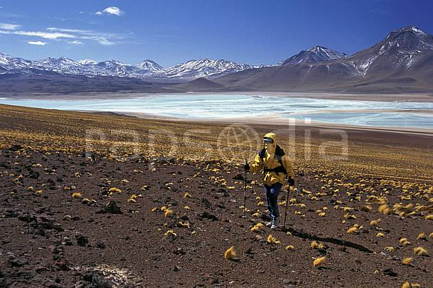 eb1226-06LE royalty free laguna verde, sud lipez, trekking, South America, Latin America, America, sport, leisure, action, aquatic sport, slide, blue sky, laguna, lagoon, walk, woman, lake, landscape, people, adventure trip (Bolivia).