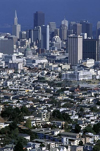 ee1300-76LE : Ville de San Francisco depuis les Twin Peaks.  Amérique du nord, building, immeuble, C02, C01 environnement, habitation, voyage aventure (Usa).
