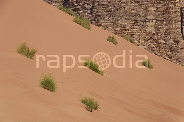 fa071351LE : Dune de sable rouge dans le désert du Wadi Rum.  Moyen Orient, dune, C02 désert, gros plan, paysage, textures et fonds (Jordanie).