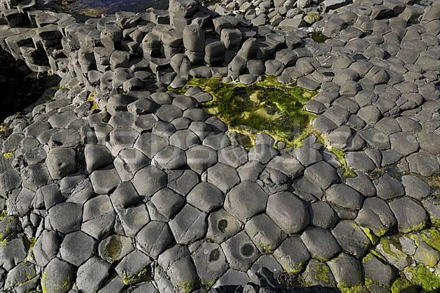 fa071901LE : Orgues basaltiques, Giant's Causeway (Chaussée des Géants), Ulster (Irlande du Nord).  Europe, CEE, littoral, orgue, de, basalte, pierre, mousse, C02 mer (Irlande Royaume-Uni).