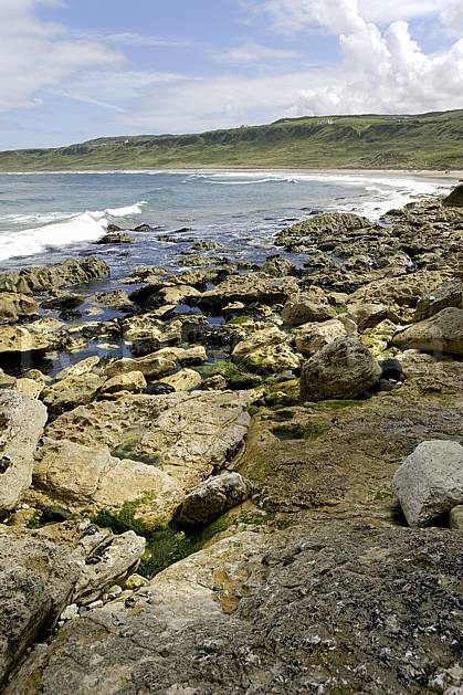 ha071877LE : Plage de White Park Bay, Portbraddan, Ulster (Irlande du Nord).  Europe, CEE, plage, littoral, C02 mer, paysage (Irlande Royaume-Uni).