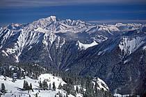 Premier plan Dent de Cons et Belle Étoile, arrière plan Mont Blanc, Haute-Savoie, ref aa0897-04GE
