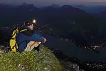Lampe frontale, Dents de Lanfon, Lac d'Annecy, Haute-Savoie, ref ab055142GE