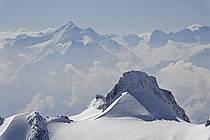 From Aiguille du Midi, Pointe Helbronner, le Grand Flambeau, Grand Paradis, Massif of Mont-Blanc, Haute-Savoie, Alpes, ref ba061189GE