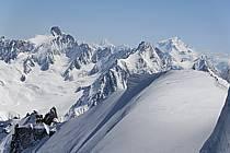 Arête du Plan, glacier et aiguille de Leschaux, Mont Dolent, Massif du Mont Blanc, Haute-Savoie, ref bb061209GE