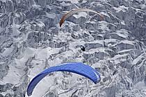 Paragliding, Glacier des Bossons, Massif of Mont-Blanc, Haute-Savoie, Alpes, ref cc054485GE