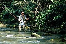 Fly fishing, Arêches, Savoie, Alpes, ref ch1238-11GE