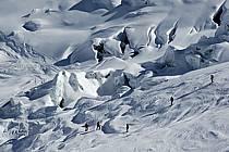 Ski dans la Vallée Blanche, Massif du Mont Blanc, Haute-Savoie, Alpes, ref da050934LE