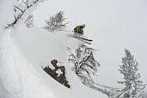 Ski hors-pistes dans le mauvais temps, Teton Pass, Wyoming - Backcountry skiing in bad weather, Teton Pass, Wyoming, ref da080578GE