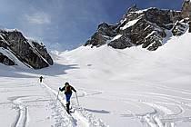 Ski de randonnée aux Quatre Têtes, Aravis, Haute-Savoie, Alpes, ref dc060944LE