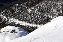 Ski de randonnée au Cerro Lopez, refugio Lopez, Bariloche, Patagonie, ref eb054904GE
