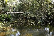 Passage d'une passerelle, village de Douguiha - Crossing a footbridge, village of Douguiha, ref eb072632GE