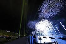 Feu d'artifice de la fête du lac d'Annecy, Haute-Savoie, ref fc063301LE